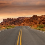 craggy brown rocks aside road