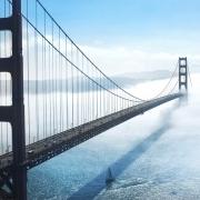 Golden Gate Bridge into clouds