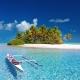 Polynesian island paradise blue ocean palm trees