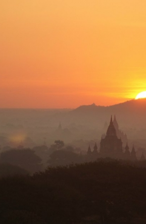 sunset over asian landscape