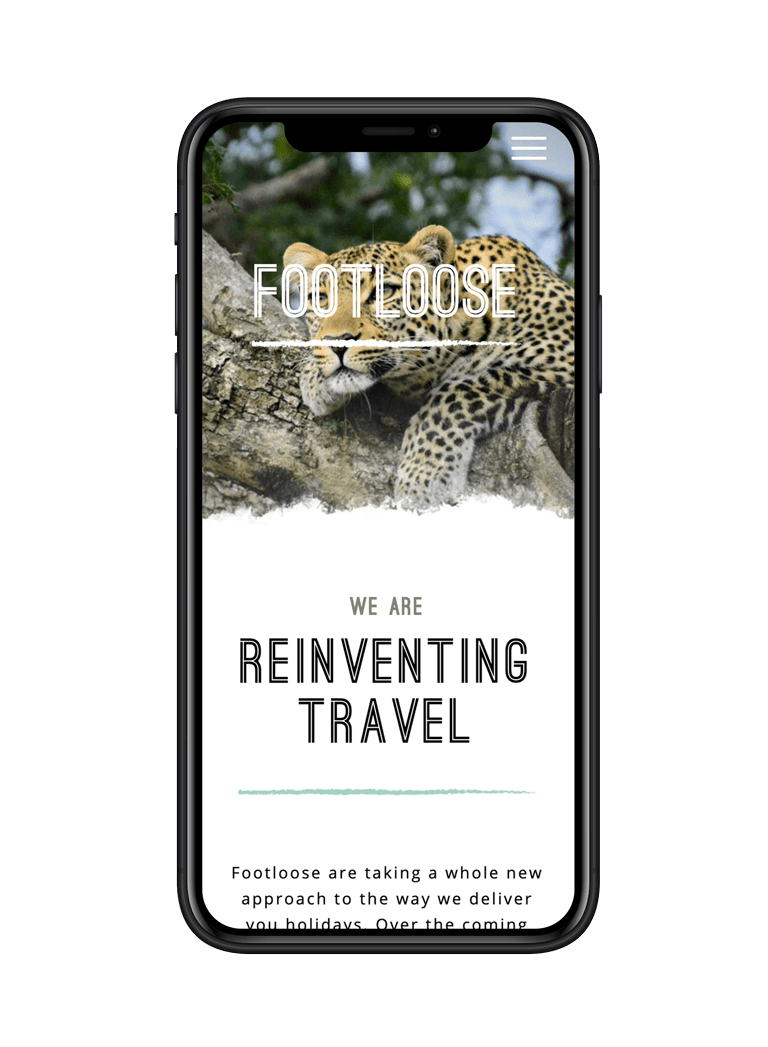 Footloose Website Design on iPhone