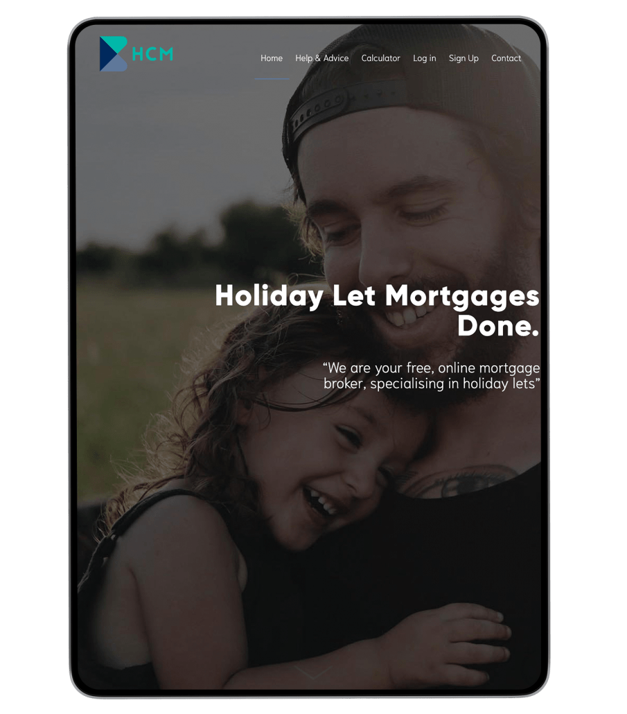 Holiday Cottage mortgages website design on iPad