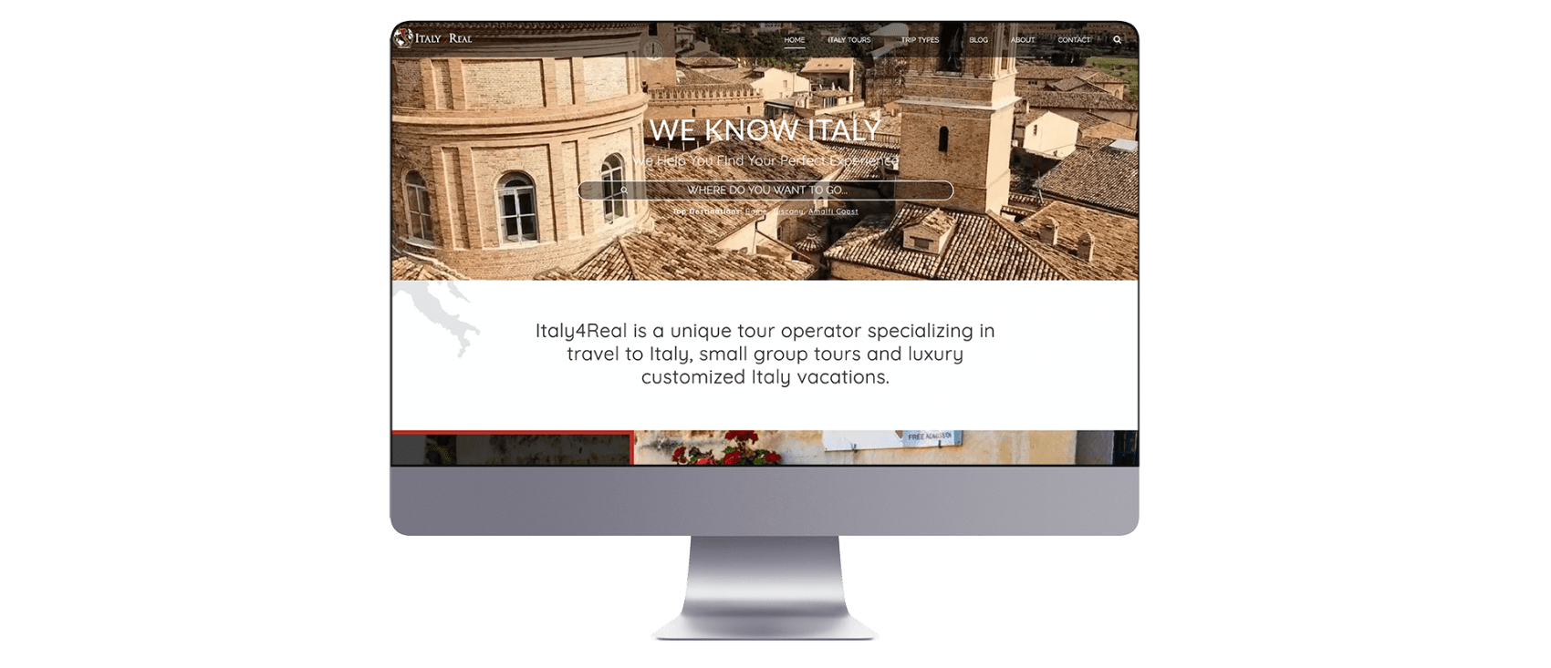 Italy4Real website design on mac