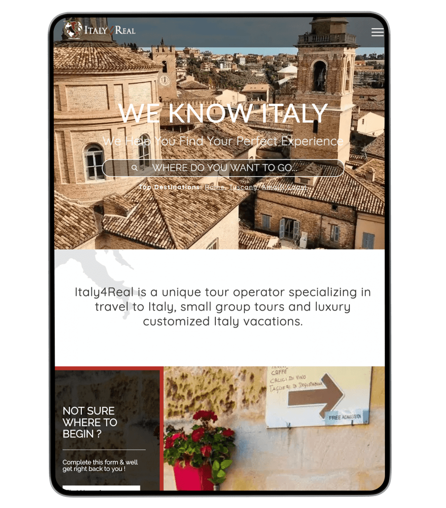 Italy4real website design on iPad