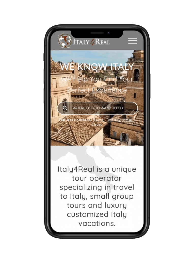 Italy4Real website design on iPhone