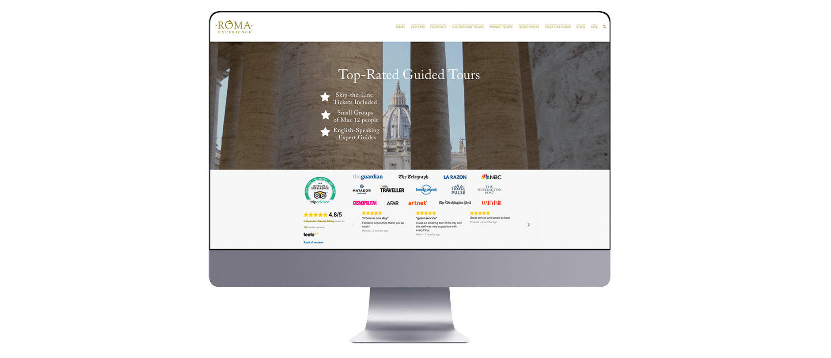 Roma Experience website design on mac