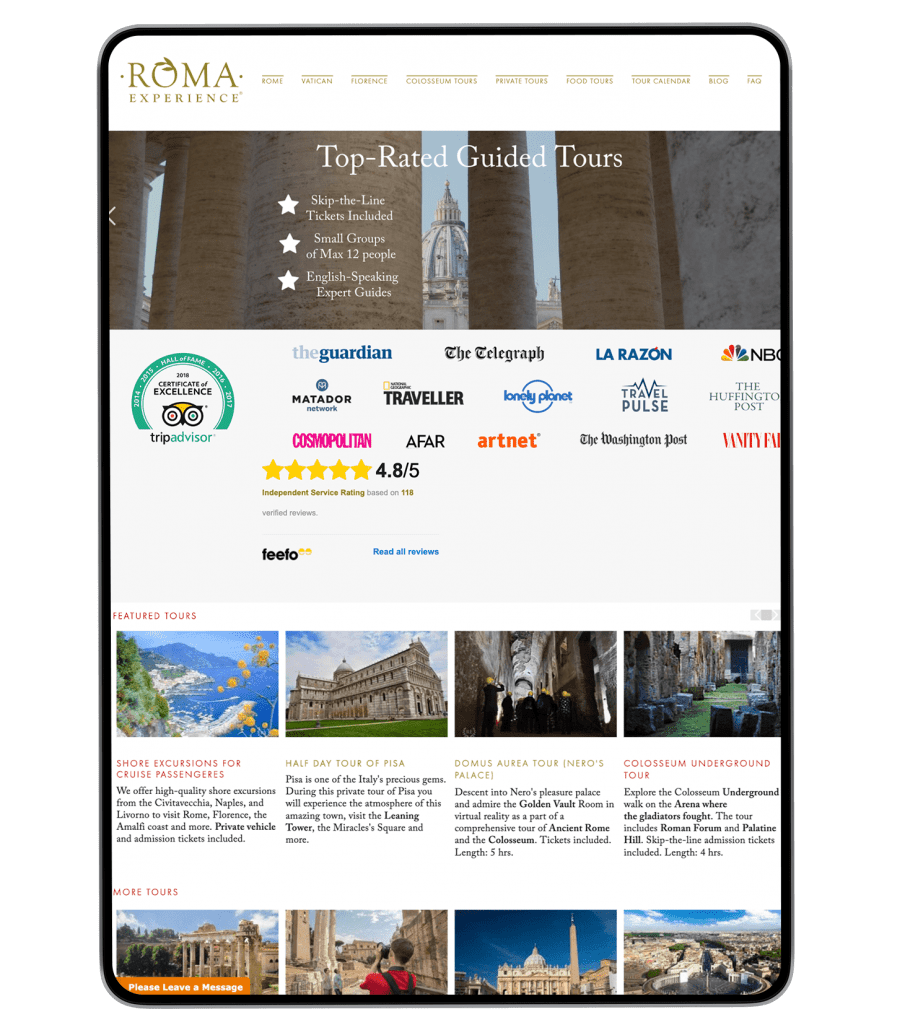 Roma Experience website design on iPad
