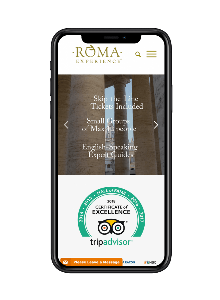 Roma Experience Website design on iPhone
