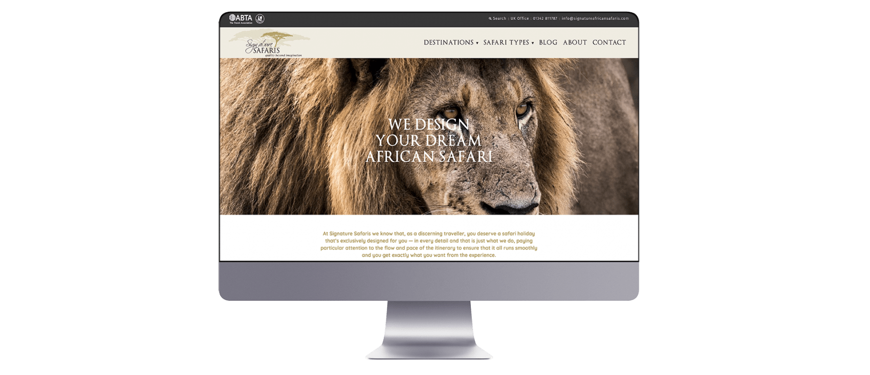 Signature safaris website design on Mac