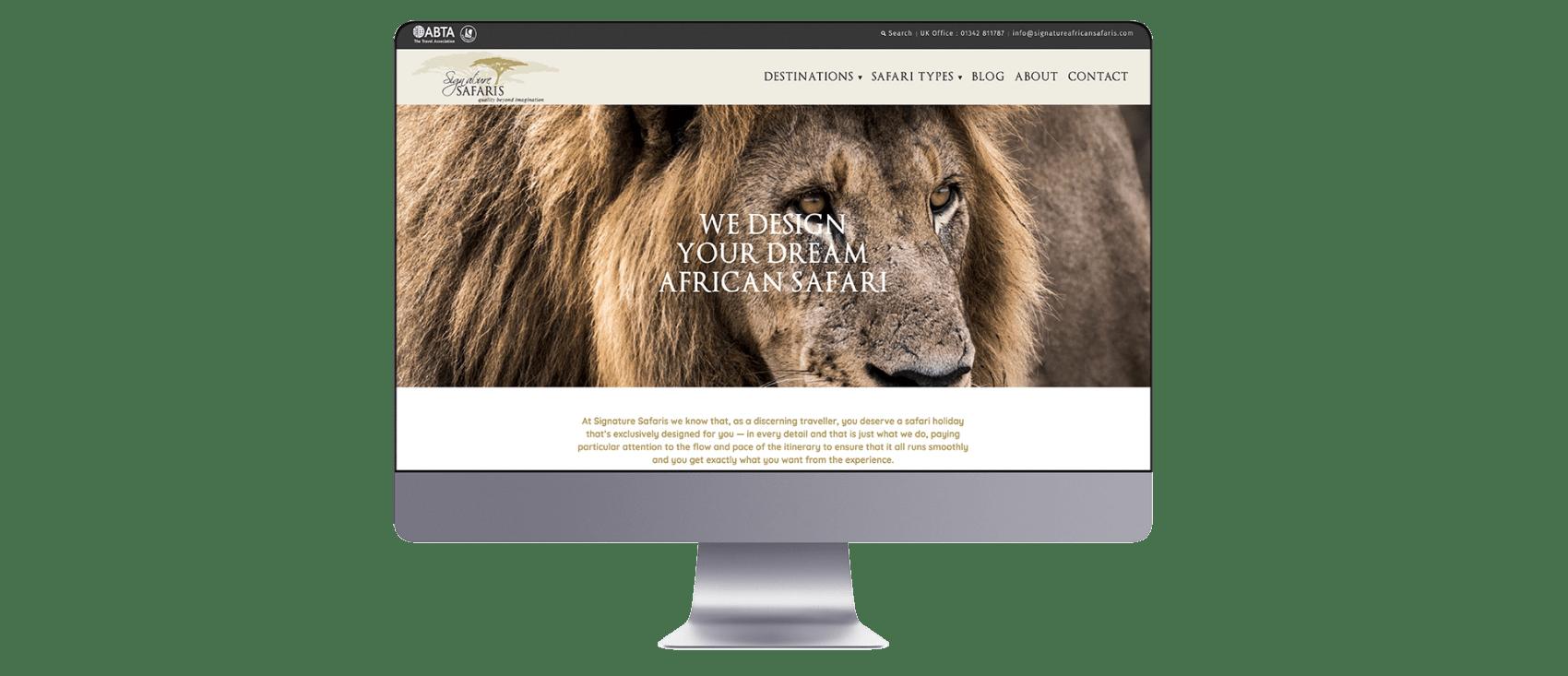 Signature safaris website design on Mac