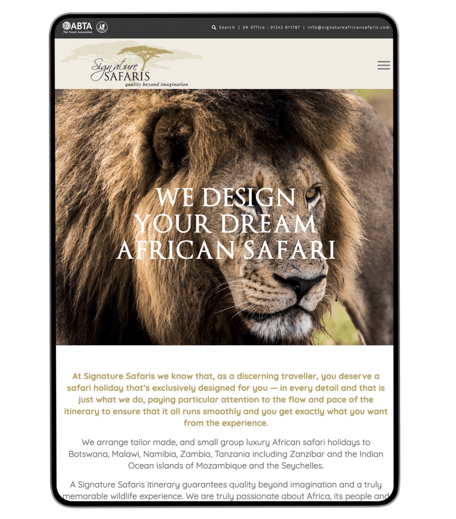 Signature Safaris website design on iPad