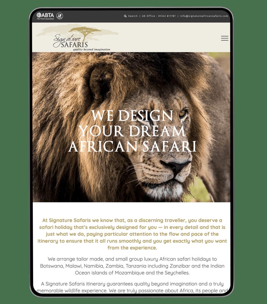 Signature Safaris website design on iPad