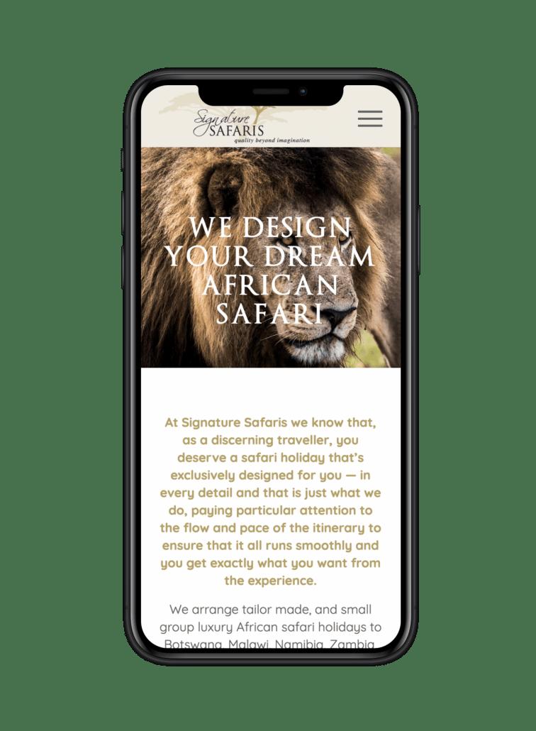 Signature safari website design on iPhone