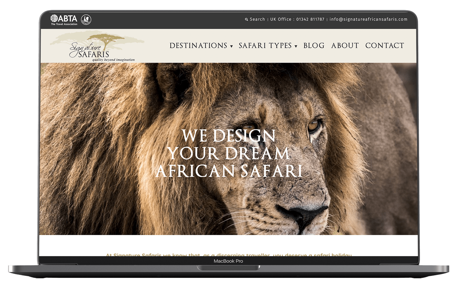 Signature Safaris Website design on macbook