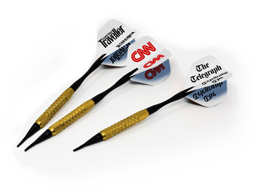 Darts featuring publisher logos