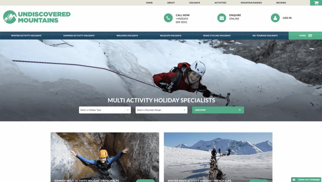 Undiscovered mountains website screenshot