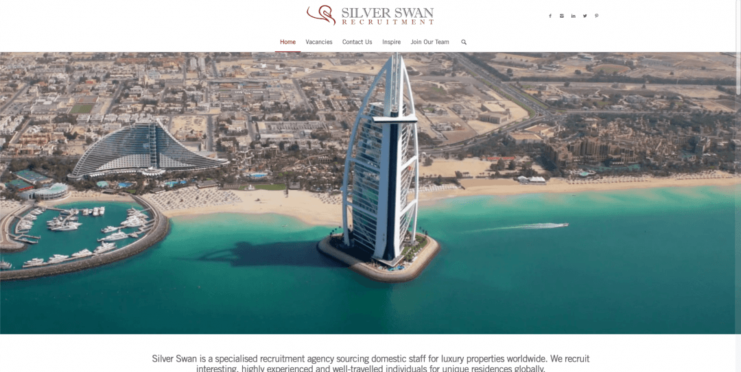 Silver Swan Recruitment Website screenshot