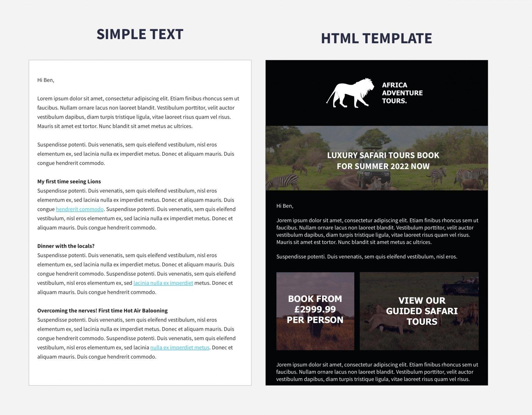 Simple Text Versus HTML Email Comparison